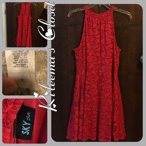 ♦️Sky Plus Size High-Neck Lace Flare Dress